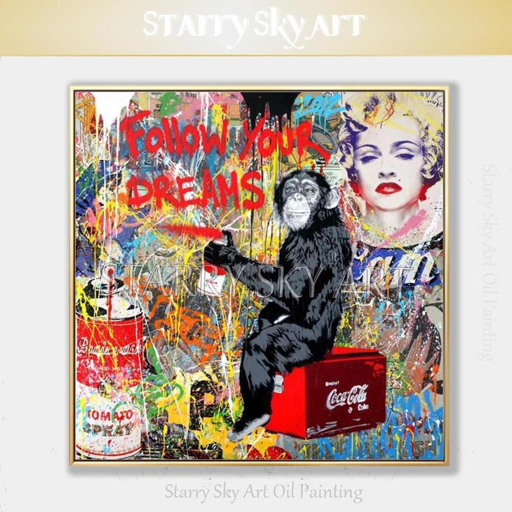 Pintados à Mão-de Pintura a Óleo sobre Tela Pintura a Óleo Artista Alta Qualidade Street Estilo Pop Art Bela Arte Spray Pintura