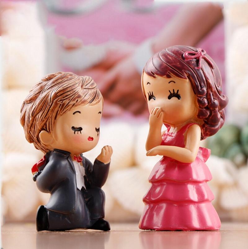 Propuesta de matrimonio Rosa figurita decorativa para boda par mini hadas jardín tanque de peces de acuario animales estatua de PVC de TNJ032