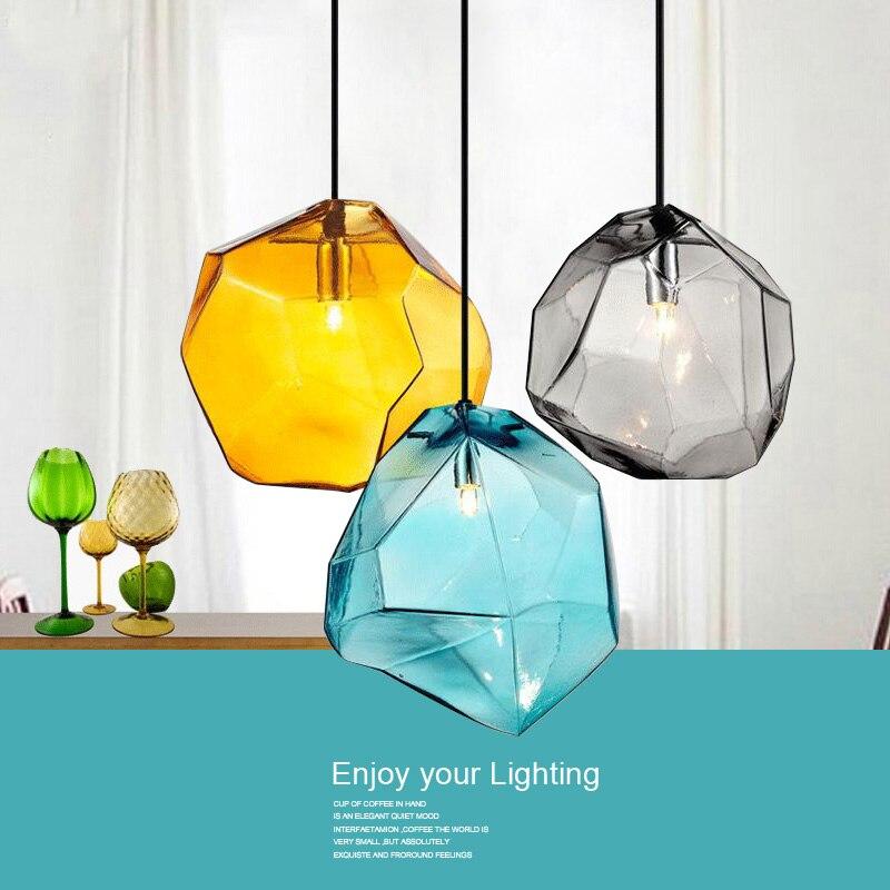 Modernas luces colgantes minimalistas, creativas lámparas colgantes de cristal coloridas, lámparas LED para restaurante, iluminación interior para el hogar