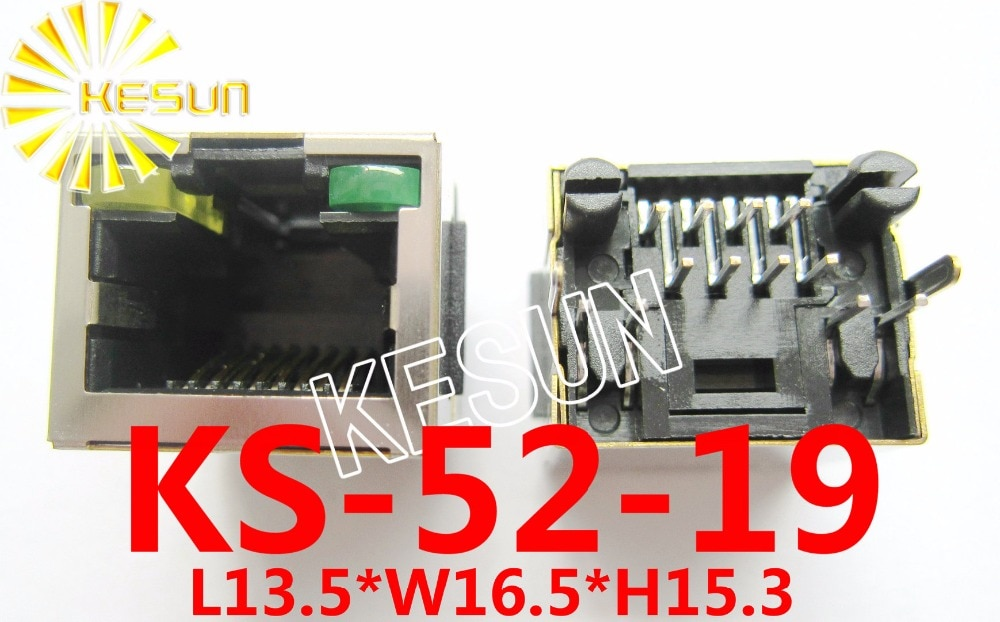 100 Uds x RJ45 8188P-8P8C tipo de escudo con LED PCB red modular jack hembra conector LAN enchufe 180 grado-Entrada