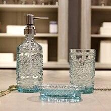 Blau Glas bad flasche Europäischen stil Presse Verdünnung shampoo wasser flasche Mund tasse Seife Box