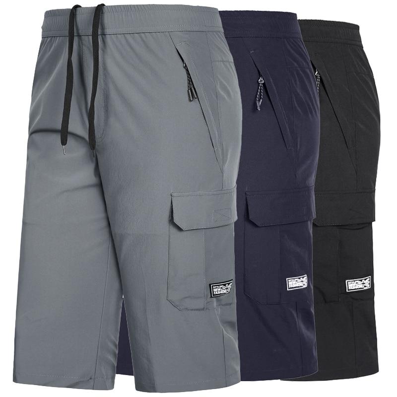 Pantalones cortos de secado rápido para gimnasio de talla grande 7XL,8XL para hombre, pantalones cortos de entrenamiento para correr con cremallera, pantalones cortos transpirables para hombre