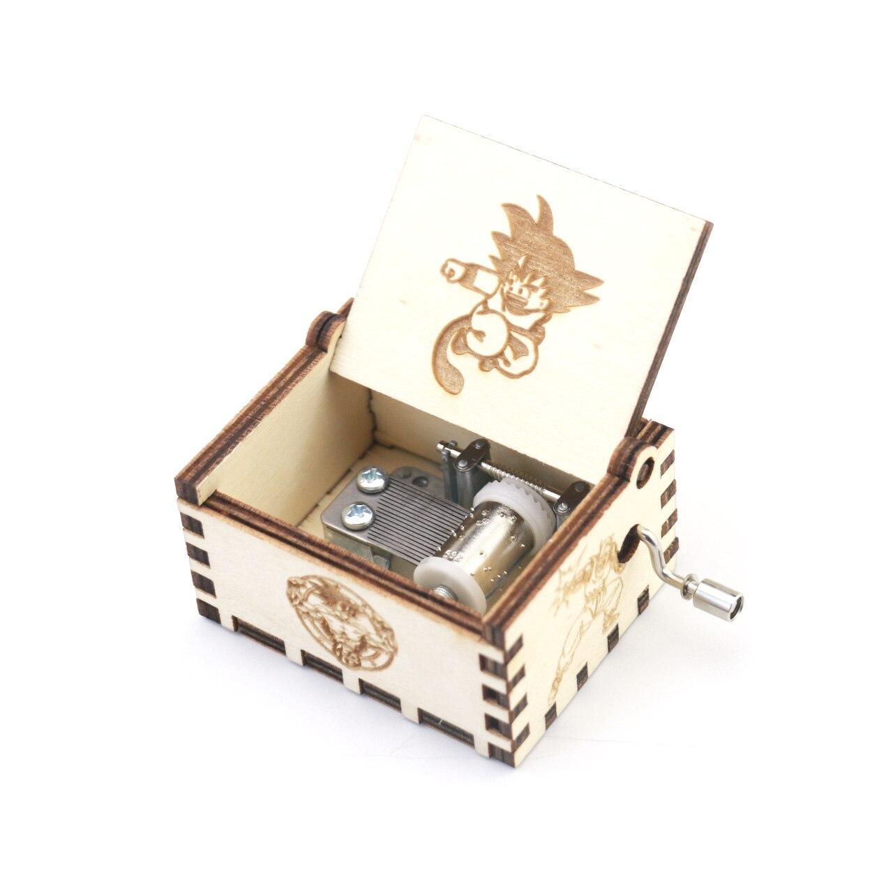 Dragon ball caixa de música mão manivela esculpida caixa musical de madeira, presente musical, jogar dragon ball z-tapion tema anime caixa de música