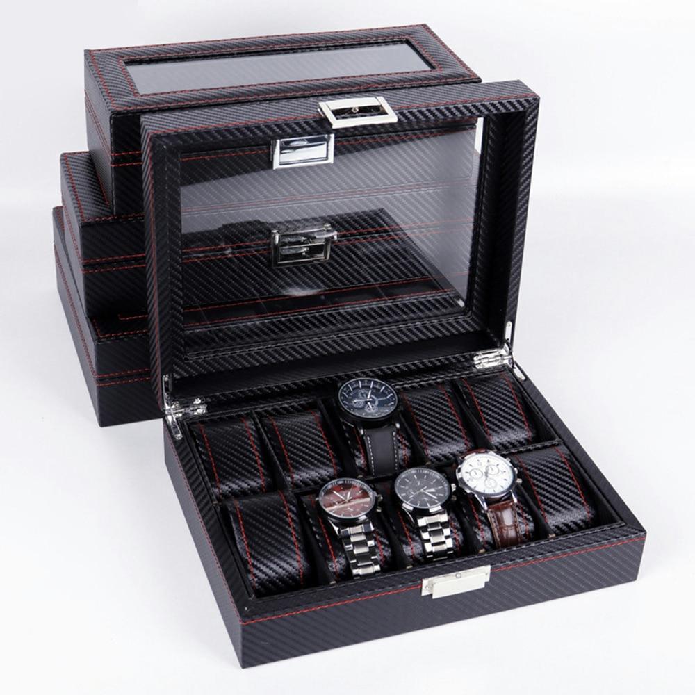 Caja de almacenamiento para relojes de lujo, joyero de cuero PU, Caja expositor de relojes, portátil, transparente, Maleta de cristal