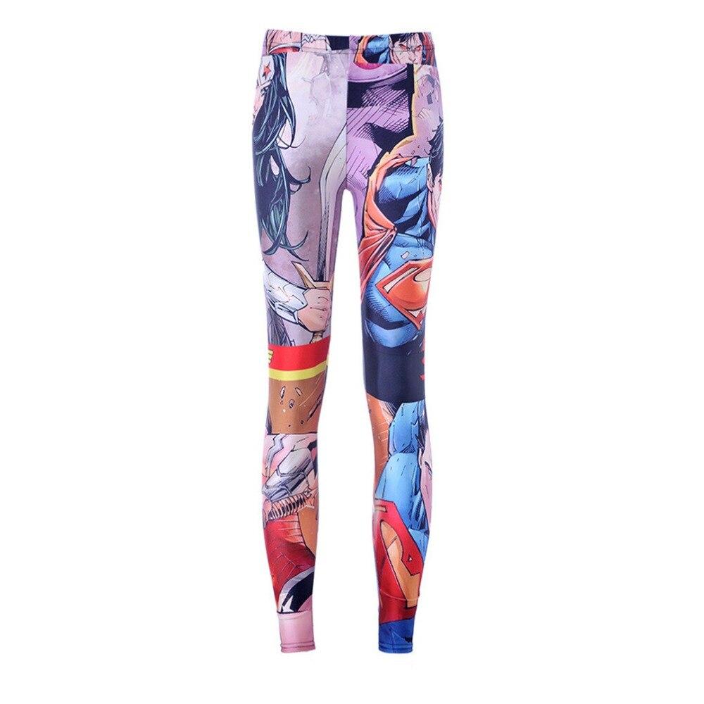 Mulheres da moda Superman Mulher Maravilha Impressão Leggings Slim Fit Fina Elastic Partido Poliéster Calças Calça Casual Drop Shipping
