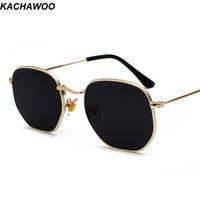 Солнцезащитные очки Kachawoo унисекс, винтажные, с квадратной металлической оправой, с серебристыми, коричневыми, чёрными линзами, в летнем сти...