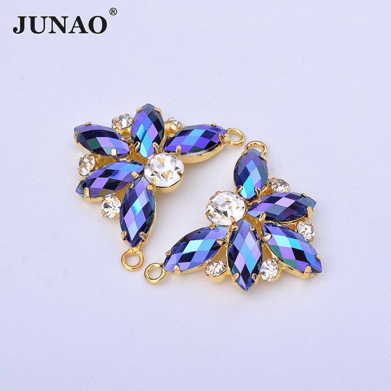 JUNAO 2 piezas 30*40mm costura azul AB flores Rhinestone Metal dorado garra cristal piedras de cuentas de cristal apliques para la fabricación de joyas de vestir