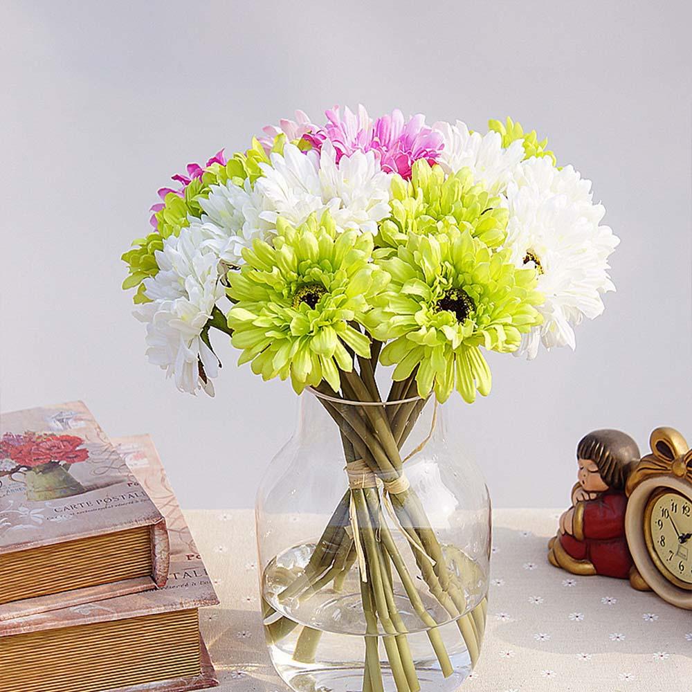 6pcs/bundle Artificial flowers cheap for christmas home wedding decor accessories diy gift fake plastic flowers silk gerbera