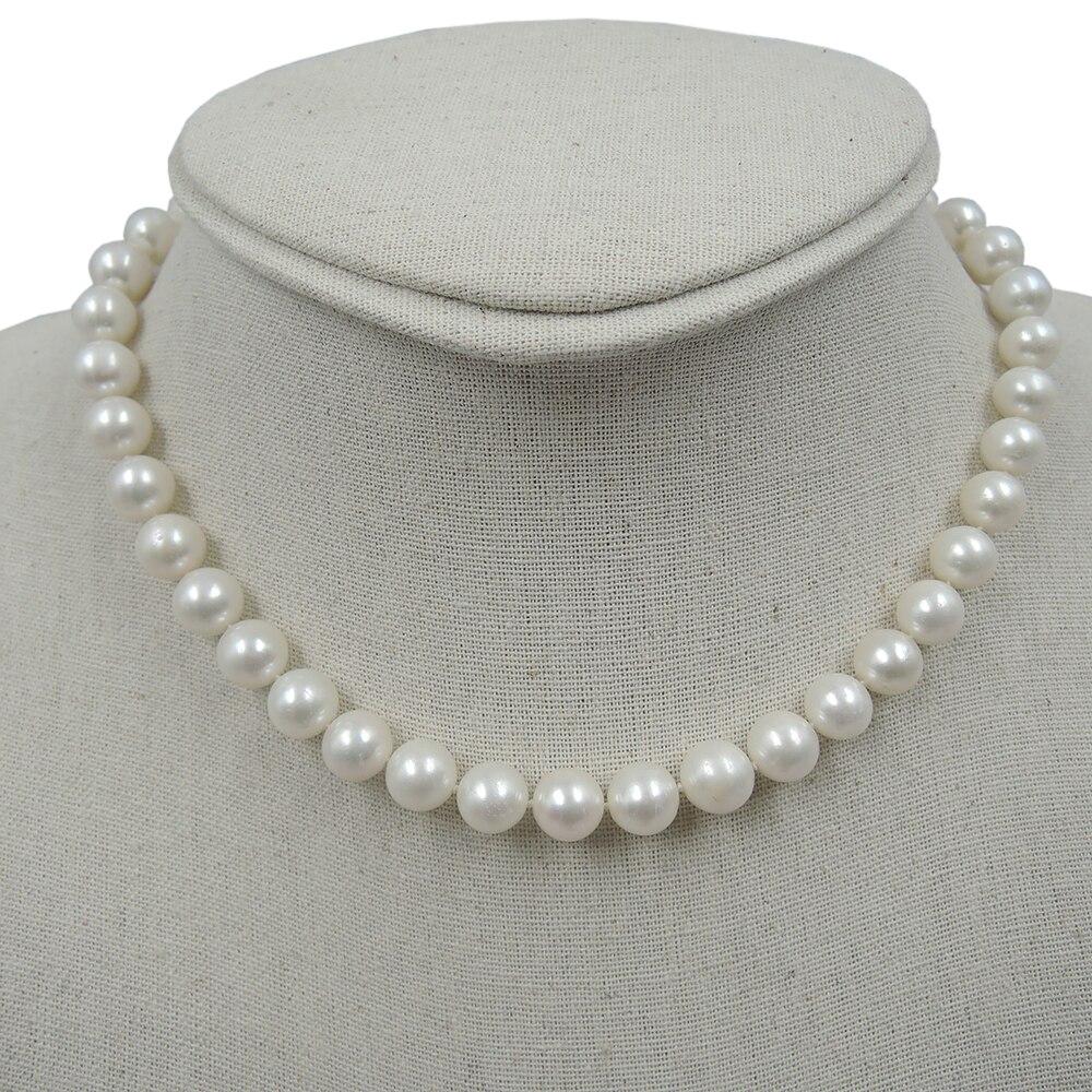 100% perla redonda de agua dulce natural NECKLACE-AAA + 9-10mm perla de buena calidad