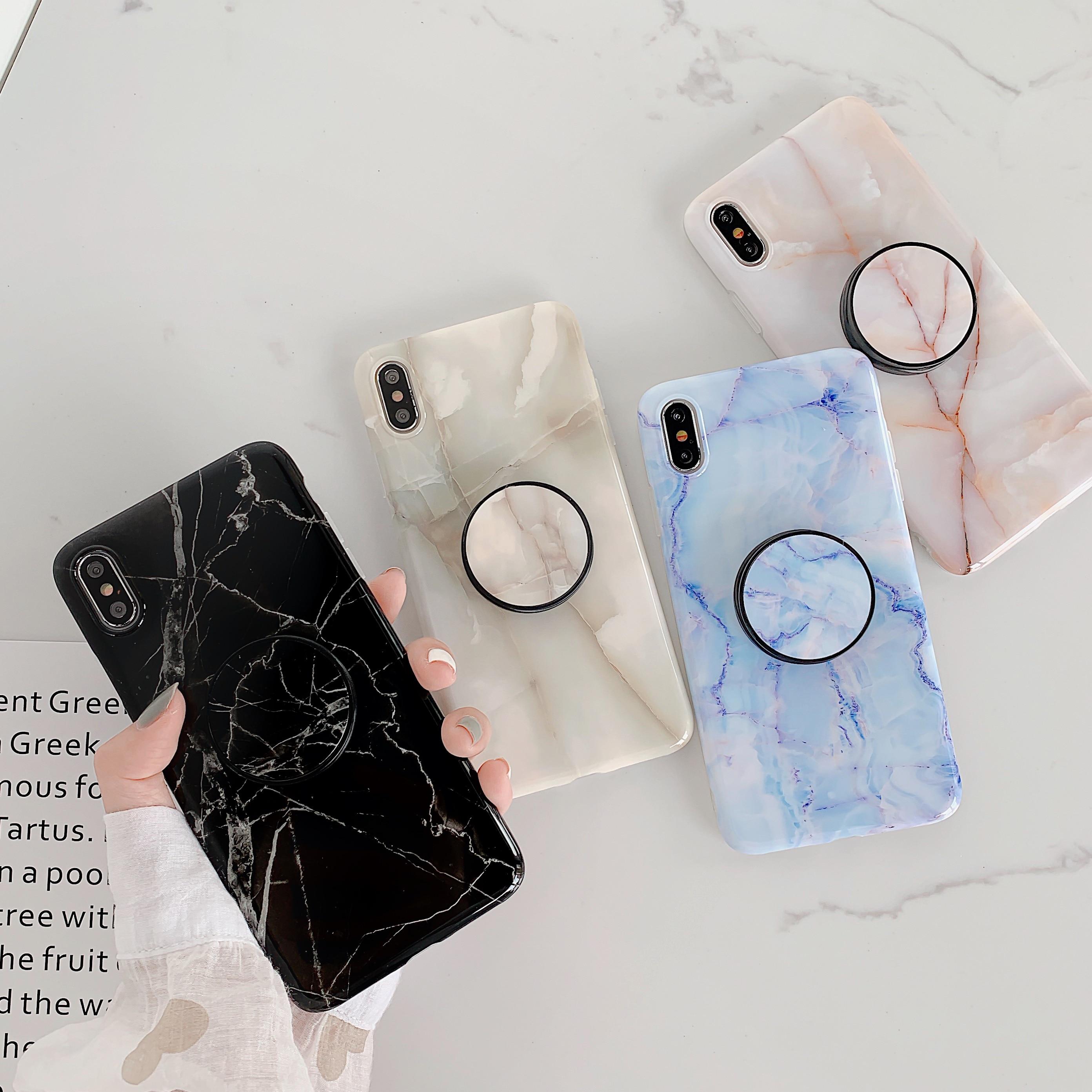 Negro brillante azul mármol soporte anillo soporte titular del teléfono para iPhone 11 Pro XS Max XR X 10 6s 6 7 8 Plus cubierta Fundas