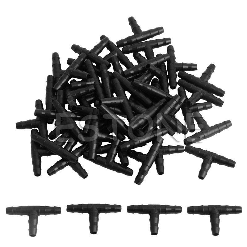 50 unids/set de manguera de púas de tubo en T de plástico de riego, sistema de goteo de montaje de Joiner de 4/7mm, triangulación de envío