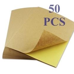 50 листов A4 коричневая крафт-бумага наклейки самоклеющиеся струйный лазер A4 печати этикетки