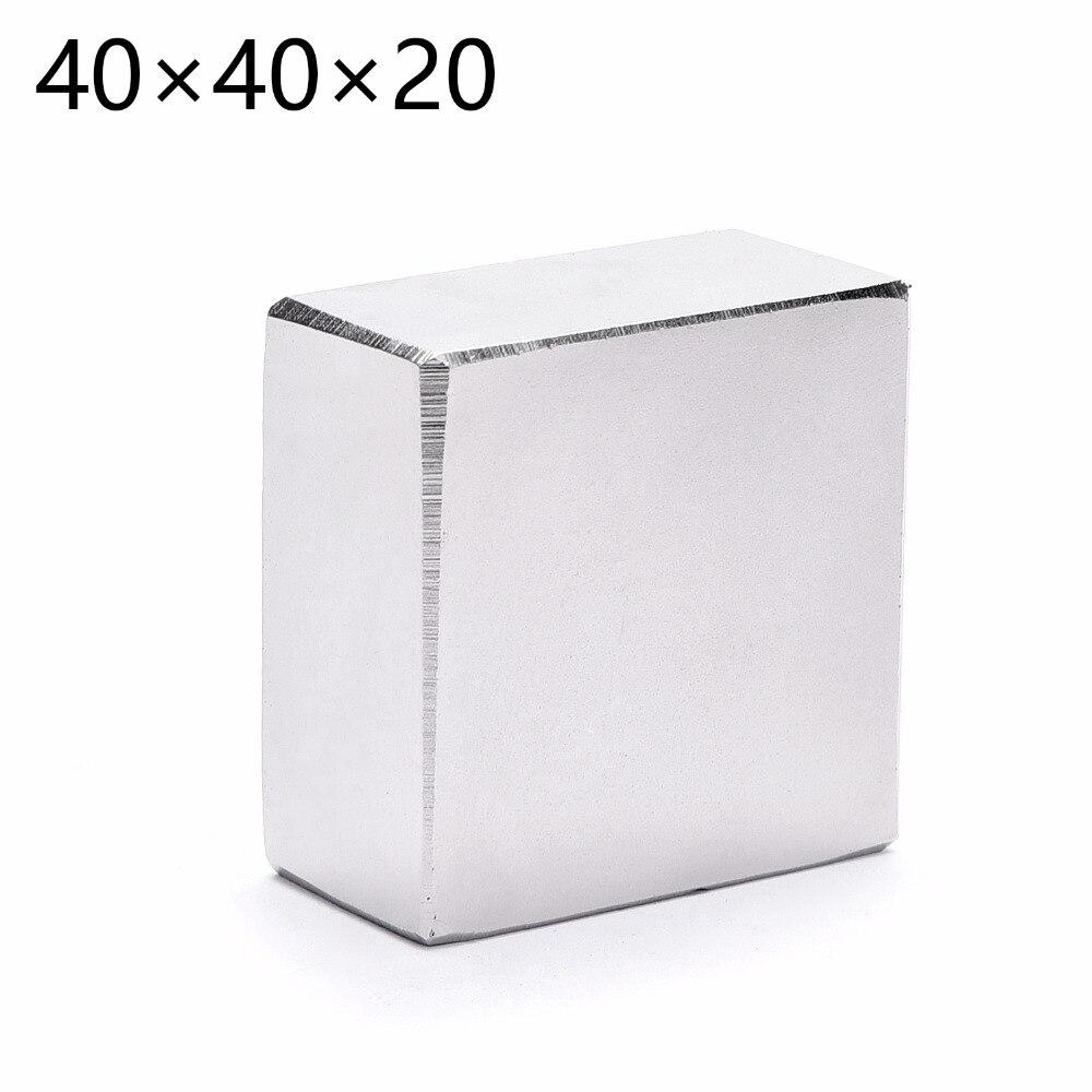 N52 2 unids/lote bloque 40x40x20mm imán de neodimio Super fuerte imanes de tierras raras