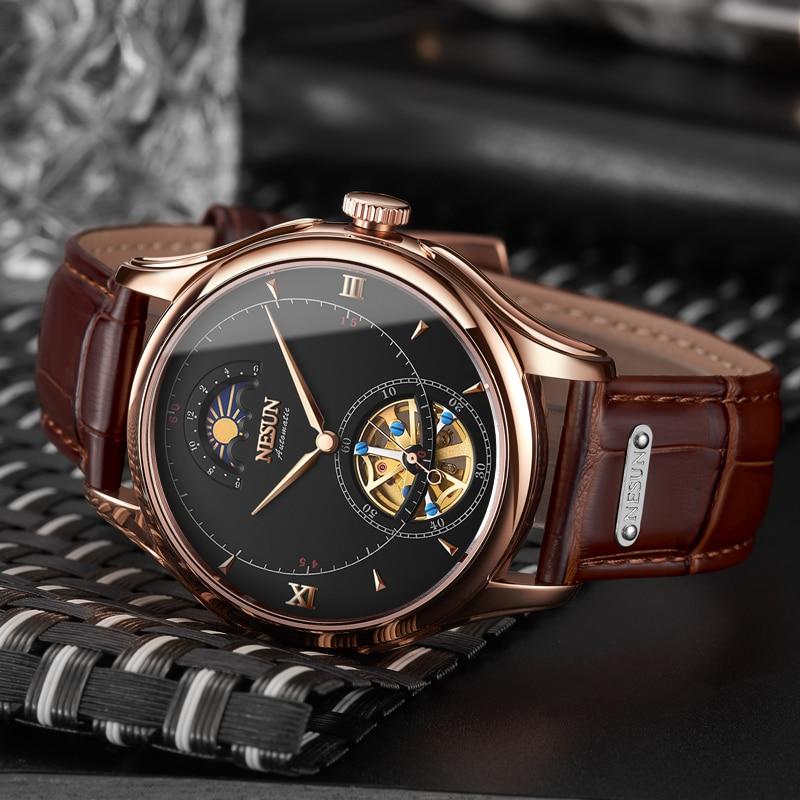 Nesun Tourbillion אוטומטי מכאני שלד גברים של שעוני יוקרה מותג שעון גברים עמיד למים relogio masculino שעון N9038-2