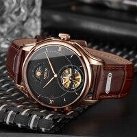 Nesun Tourbillion Automatic Mechanical Skeleton Men's Watches Luxury Brand Watch Men Waterproof relogio masculino clock N9038-2
