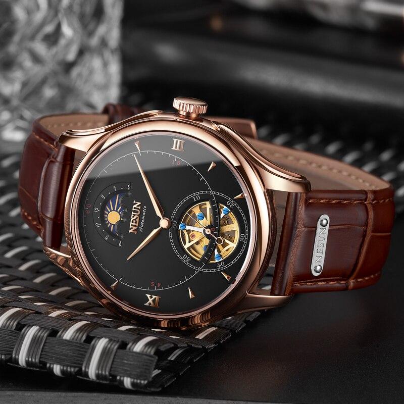 Nesun Tourbillion Automatic Mechanical Skeleton Mens Watches Luxury Brand Watch Men Waterproof relogio masculino clock N9038-2