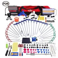 PDR Push Rod Hooks Professional Car Remove Dents Tools Removal Paintless Dent Repair Door Repair Puller Kit with LED Lamp