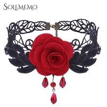 Solememo Black Lace Choker Halskette Mode Halloween Schmuck Rote Rose Halskette für Frauen Geschenke Kragen Choker Halskette N6049