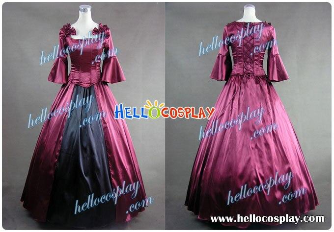 Colonial Lolita vestido de Baile vestido Vermelho Do Baile de finalistas Do Vestido de Casamento H008
