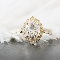 unique wedding ring 7x9mm oval cut moissanite engagement ring 14k yellow gold halo diamond moissanite ring anniversary ring