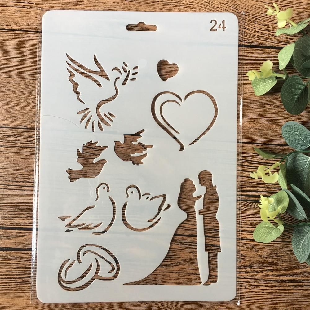 26 cm mariage Couple colombe coeur bricolage artisanat stratification pochoirs peinture Scrapbooking estampage gaufrage Album carte modèle