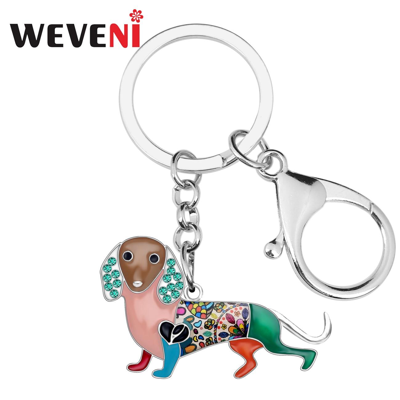 WEVENI Enamel Alloy Rhinestone Dachshund Dog Key Chains Holder Cute Animal Jewelry Gift For Women Girls Bag Purse Charms Pendant