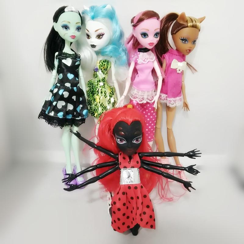 1 Fasion alta Qualidade Bonecas Draculaura/Clawdeen Wolf/Frankie Stein/WYDOWNA Aranha Preta Corpo Móvel Brinquedos Meninas presente