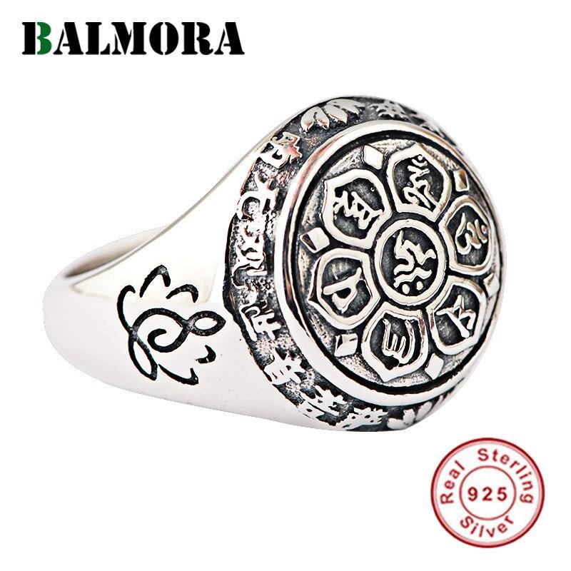 Кольца для мужчин и женщин BALMORA, из 100% серебра 925 пробы, с мантрой из 6 слов, кольцо на палец, подарки, буддистские украшения, Anillos SY20992