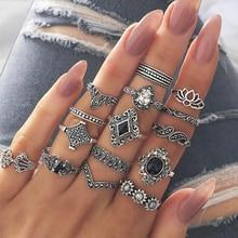 Miss JQ 15 stks/set Zilver Kleur Hollow Lotus Opal Vintage Ringen Vrouwen Knuckle Rings Set voor Vrouwen Mid Finger Ring dunne Ringen