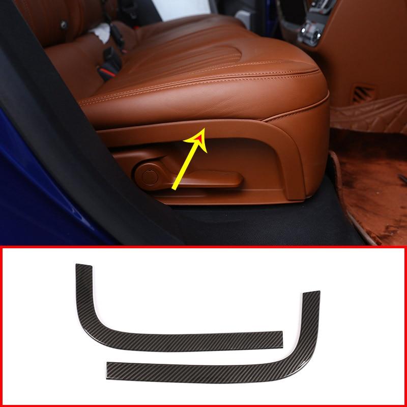 2 uds. De fibra de carbono para Maserati Levante Car ABS asiento de la fila trasera decoración tiras adornos accesorios Auto