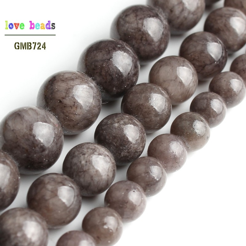 Gray Stone Beads Jades Round Beads for Jewelry Making 15'' Strand DIY Bracelet Jewellery 6mm 8mm 10m
