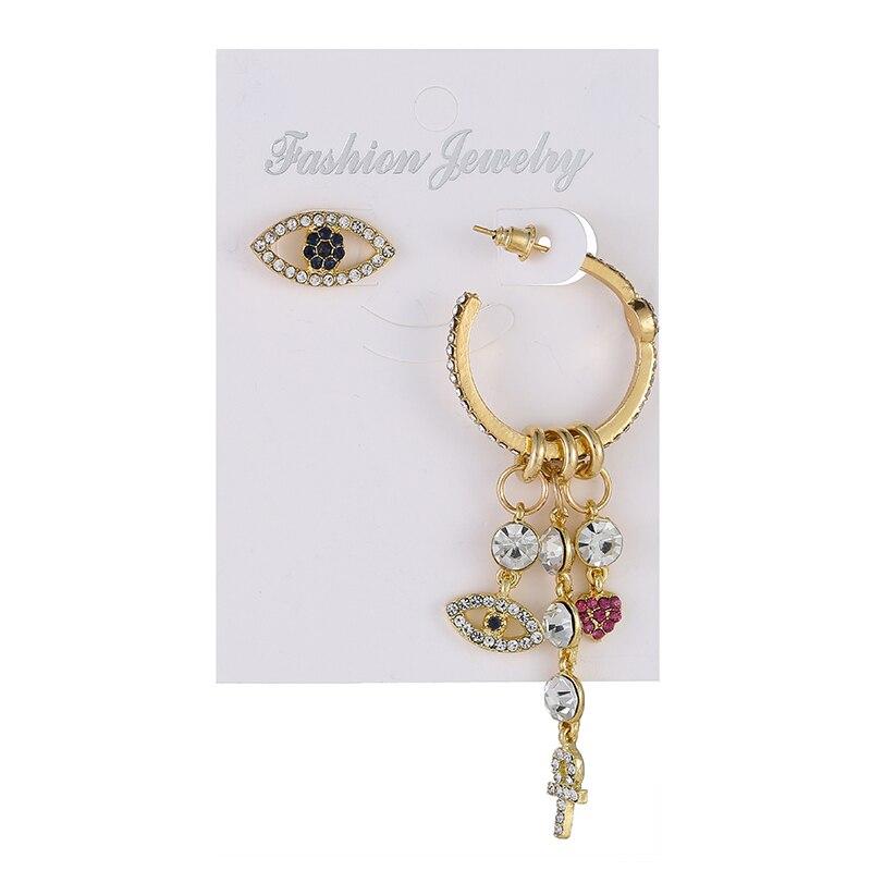 Korean Women Brides Ladies Temperament Alloy Cross Drill Eye C-Shape Asymmetric Crystal Heart Ear Dangle Drop Earrings Jewelry
