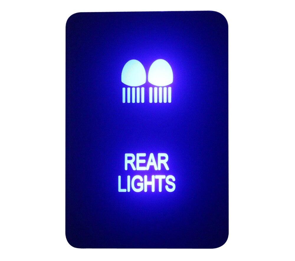 DIY Interruptor 12 V 3Amp Azul LUZES TRASEIRAS LED Push Button Switch Para Toyota 2015 Prado 150 200 Rav4 Hilux