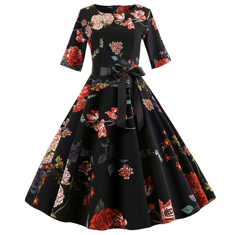 Vintage floral vestido feminino 2018 plus size manga comprida vestido de outono elegante rockabilly vestido de festa inverno vestido de natal jurken