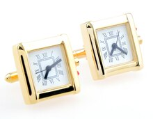 Functional Cufflinks - Square gold watch cuff links movement stripes cufflinks gift for men -KLJC2501