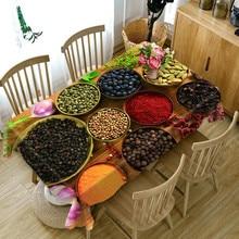Mantel de comedor de cocina, café, comedor, impermeable, 3D, mantel rectangular, mesa redonda, tamaño personalizado, funda de cojín