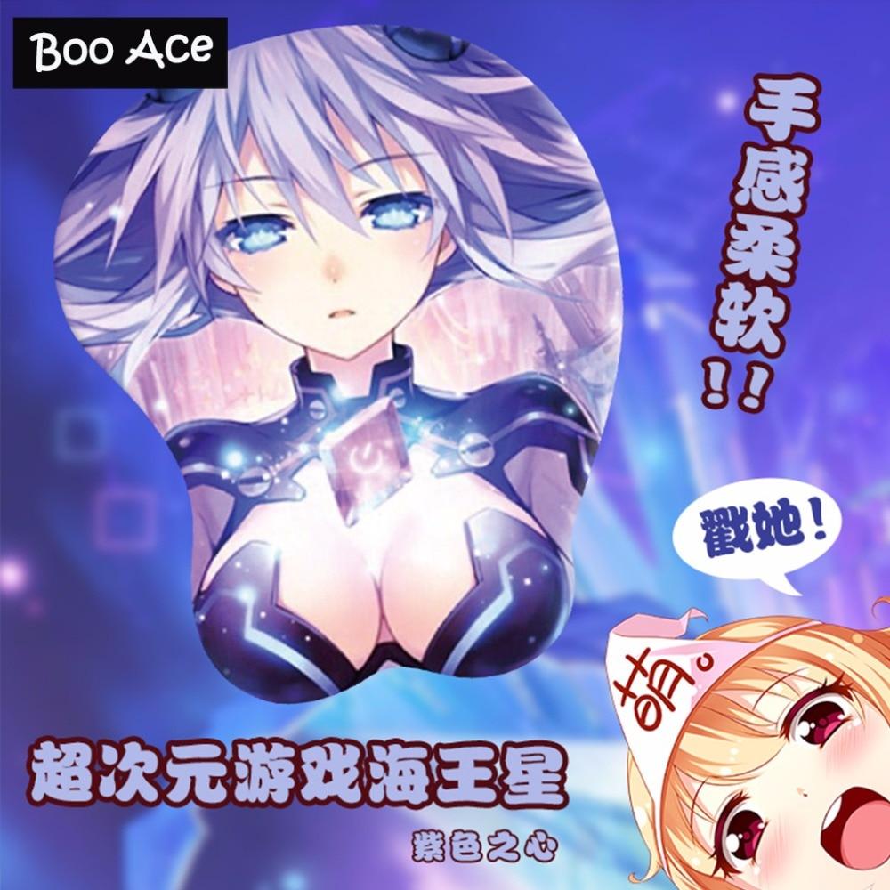 Hyperdimension Neptunia Anime Girl 3D Boobs Ecchi Mousepad with soft Silicon Gel Wrist Rest