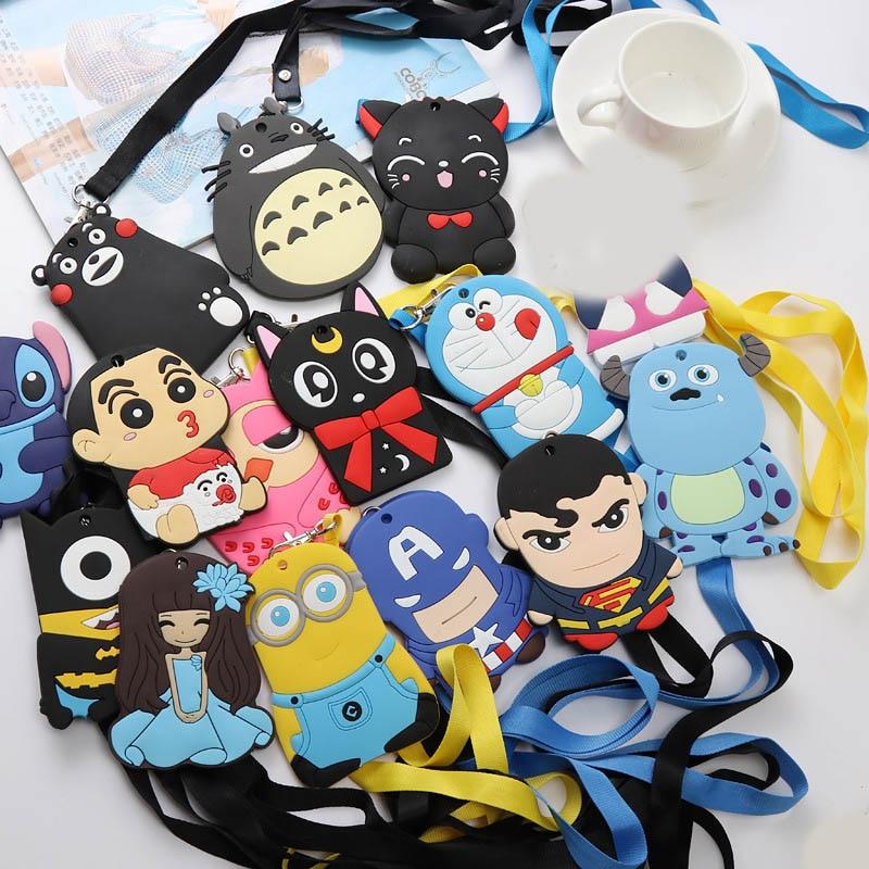 Cartoon Cat Stitch Batman Silica Gel Lanyard Credit Card ID Holder Bag Student Women Travel Bank Bus Business Card Cover Badge