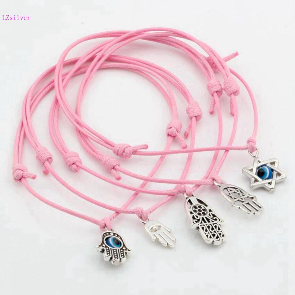 5pcs Mixed Kabbalah Hamsa Hand Star of David Charms Pink color Wax rope Adjustable Bracelets S112L35