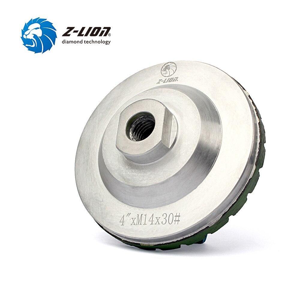 "Z-LION 4"" Grit 30# Diamond Cup Wheel Silent Core Turbo Cup Grinding Aluminum Base Abrasive Tool For Concrete Granite Thread M14"