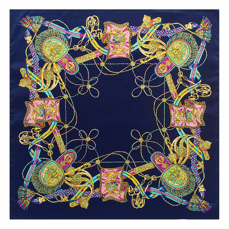fashion small square 40% natural silk women scarves brand patchwork moon stars woman neck scarf for bags bandana hijab 60 60cm 60cm*60cm 2021 New Fashion Women Luxury Brand Twill Silk Scarf Chain Tassels Print Small Square Scarves Hijab Headband