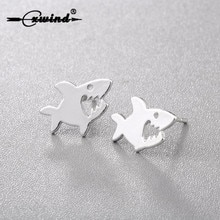 Cxwind Shark Stud Earring Tiny Women Lady Earring Unique Design Ocean Animal Killer Fish Earrings Jewelry brincos