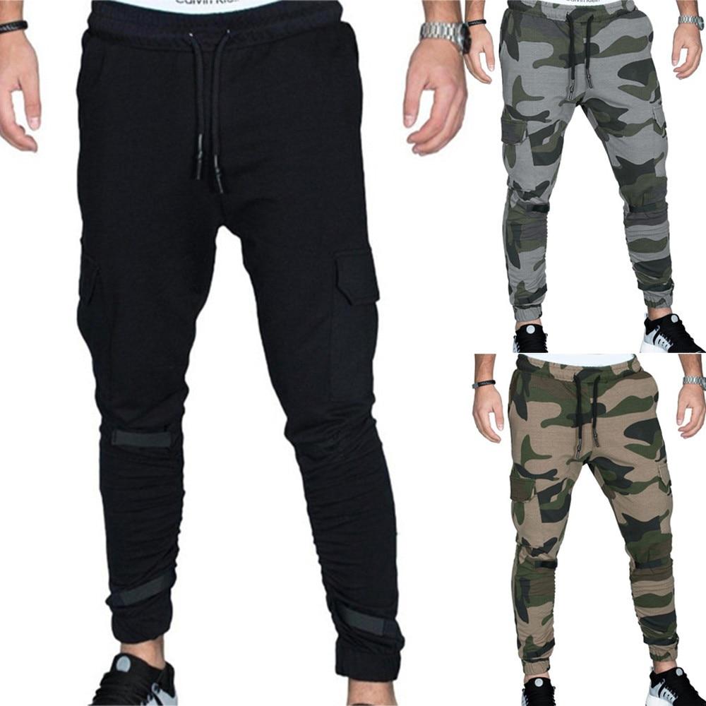 Pantalones de verano 2019 ajustados con cordón para los pies para hombre, pantalones informales elásticos con bolsillos, pantalones para correr, ropa de calle, pantalones para hombre