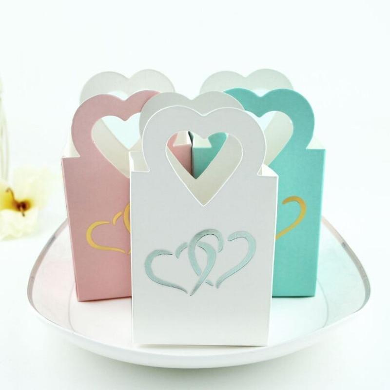 Новинка, 10 шт., золотые Мини Свадебные украшения в виде сердца, коробка конфет, красивая двойная Серебристая ручная сумка в форме сердца, мал...