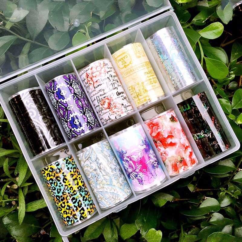 Encanto Prego Shinning Beleza Mista Prego Transferência Art Foils Set Laser Sticker Manicure DIY Decoração Da Etiqueta Holográfica