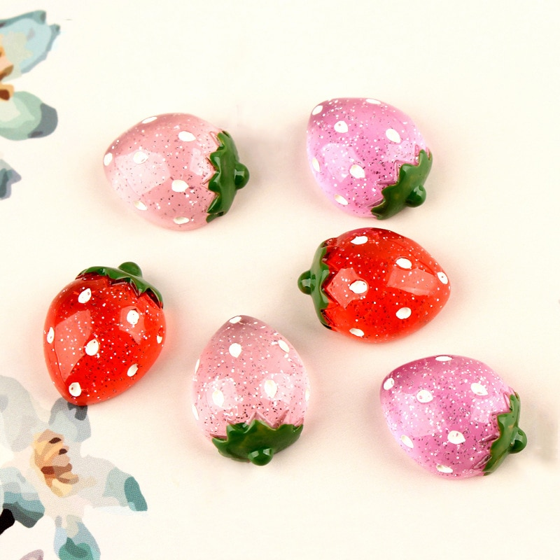 Lote de 10 Uds de dijes de fresa con purpurina de mono feliz, suministros de bonitos adornos para frutas, Kit de relleno para limo esponjoso transparente y crujiente