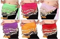 100pcs high quality chiffon egypt belly dance fitness costume wear hip wraps 128 coins belt chain 2pcs for free gifts new year
