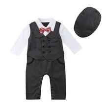 Pasgeboren Baby Jongens Kleding Set Gentleman Formele Baby Bodysuit Tuxedo Infant Hat + Jumpsuit 2 stks Outfit Party Peuter Kleding