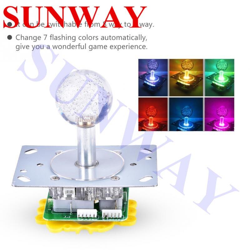 Joystick LED iluminado con colores de 12V conmutable de 4 a 8 vías con microinterruptores de 5 pines para juegos de Arcade DIY