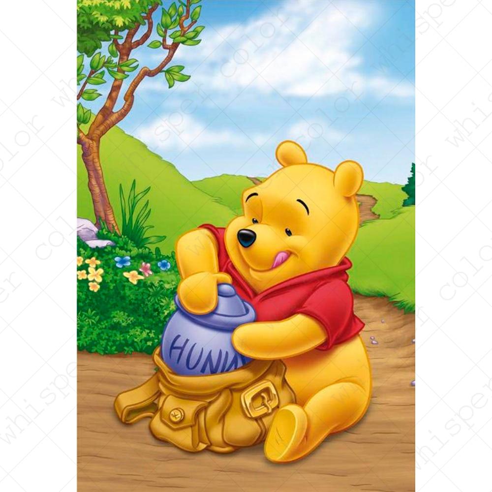 Pintura diamante Diy Praça Cheia Pintura Daimond Mel Dos Desenhos Animados Winnie Pooh Animal Mosaico Strass Pintura Home Decor LE01476